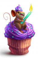 Cupcake Candle Thief Mouse